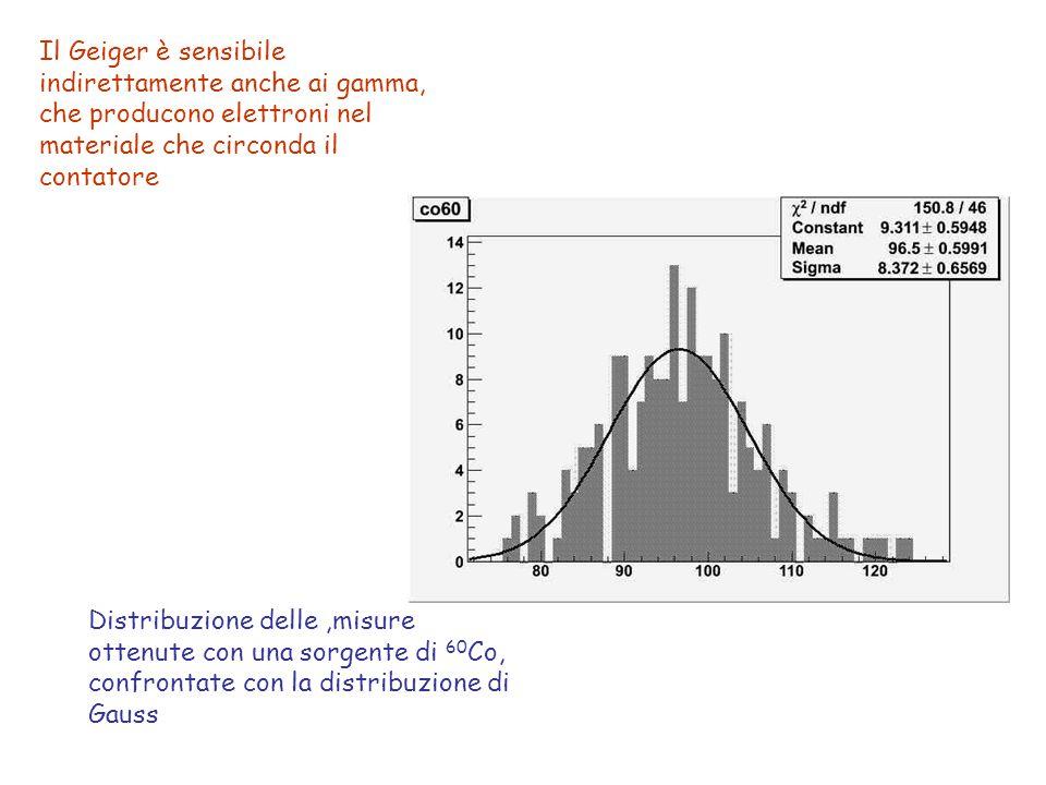 Distribuzione delle,misure ottenute con una sorgente di 60 Co, confrontate con la distribuzione di Gauss Il Geiger è sensibile indirettamente anche ai gamma, che producono elettroni nel materiale che circonda il contatore