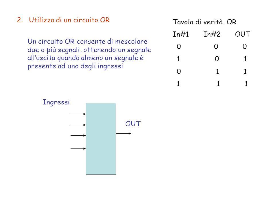 2. Utilizzo di un circuito OR Un circuito OR consente di mescolare due o più segnali, ottenendo un segnale all'uscita quando almeno un segnale è prese