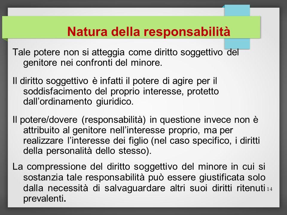 14 Natura della responsabilità Tale potere non si atteggia come diritto soggettivo del genitore nei confronti del minore. Il diritto soggettivo è infa