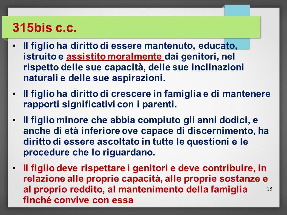 315bis c.c. Il figlio ha diritto di essere mantenuto, educato, istruito e assistito moralmente dai genitori, nel rispetto delle sue capacità, delle su