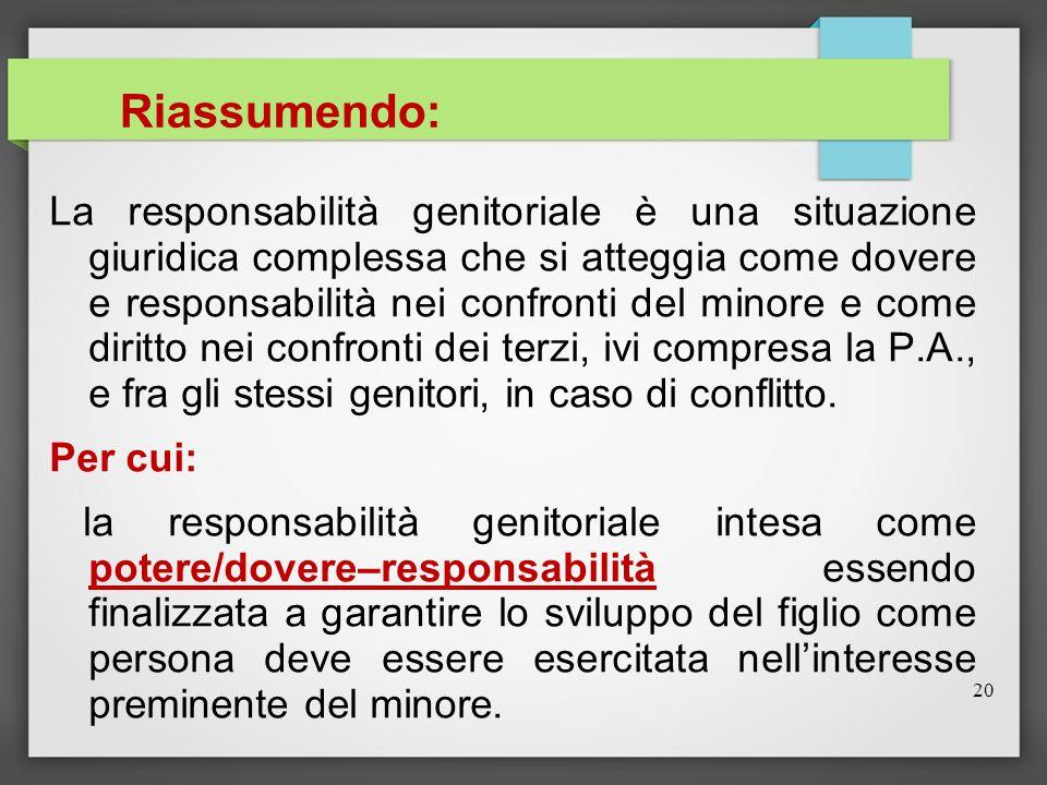 20 Riassumendo: La responsabilità genitoriale è una situazione giuridica complessa che si atteggia come dovere e responsabilità nei confronti del mino