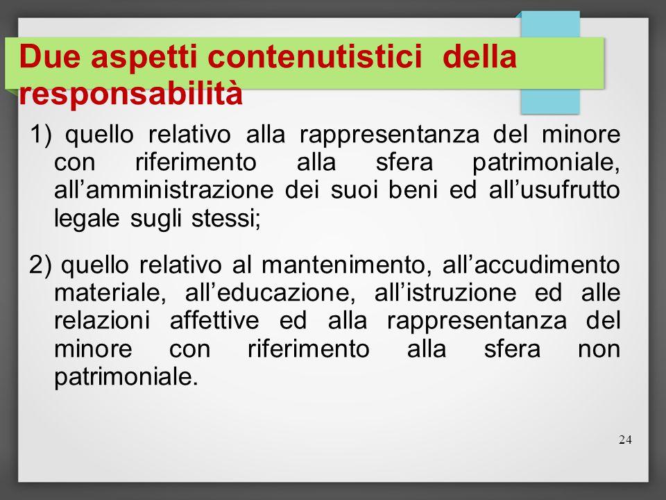 24 Due aspetti contenutistici della responsabilità 1) quello relativo alla rappresentanza del minore con riferimento alla sfera patrimoniale, all'ammi