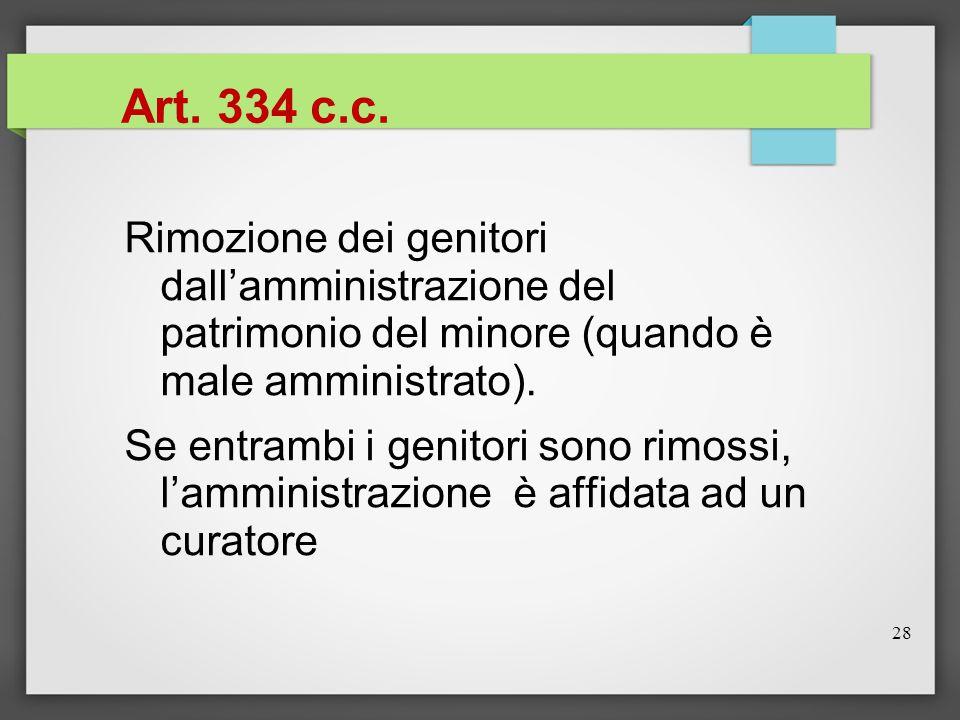 28 Art. 334 c.c. Rimozione dei genitori dall'amministrazione del patrimonio del minore (quando è male amministrato). Se entrambi i genitori sono rimos