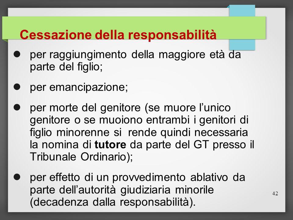 42 Cessazione della responsabilità per raggiungimento della maggiore età da parte del figlio; per emancipazione; per morte del genitore (se muore l'un