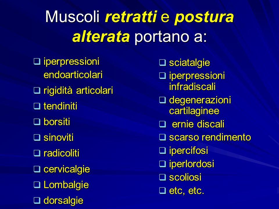 UNA POSTURA ALTERATA È VITTIMA E CAUSA DI TENSIONI MUSCOLARI PERSISTENTI TENSIONI PERSISTENTI SFOCERANNO IN FISSITÀ MUSCOLARI, OSSIA: RETRAZIONI (un muscolo si struttura in posizione corta perché il tessuto connettivo tende a fissare , cementare i sarcomeri in posizione progressivamente più chiusa )
