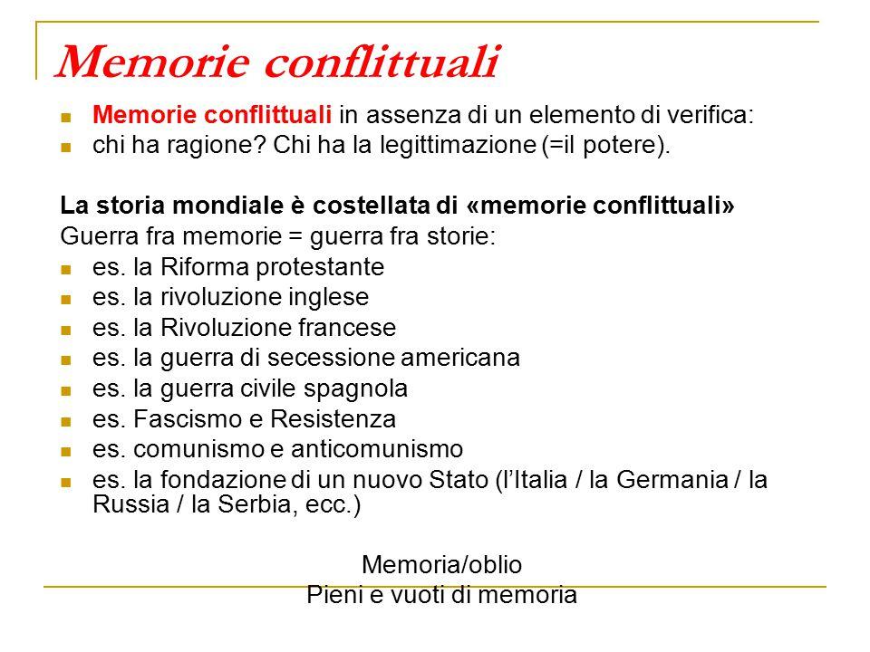 Memorie conflittuali Memorie conflittuali in assenza di un elemento di verifica: chi ha ragione.