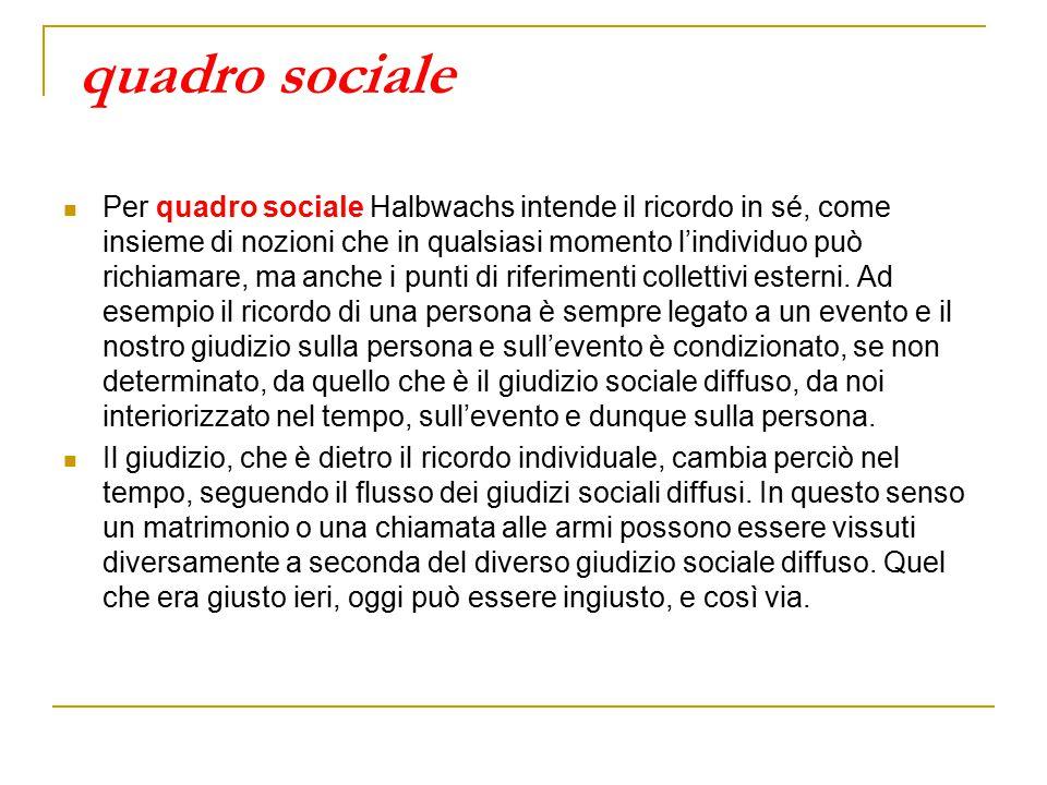 quadro sociale Per quadro sociale Halbwachs intende il ricordo in sé, come insieme di nozioni che in qualsiasi momento l'individuo può richiamare, ma anche i punti di riferimenti collettivi esterni.