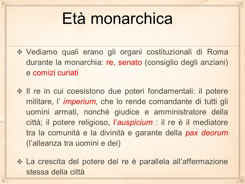 Vediamo quali erano gli organi costituzionali di Roma durante la monarchia: re, senato (consiglio degli anziani) e comizi curiati Il re in cui coesist