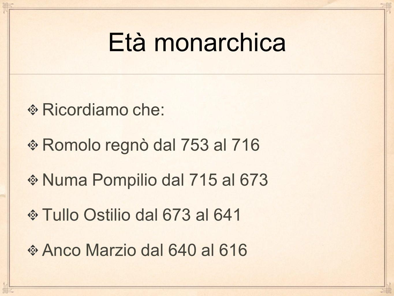 Età monarchica Ricordiamo che: Romolo regnò dal 753 al 716 Numa Pompilio dal 715 al 673 Tullo Ostilio dal 673 al 641 Anco Marzio dal 640 al 616