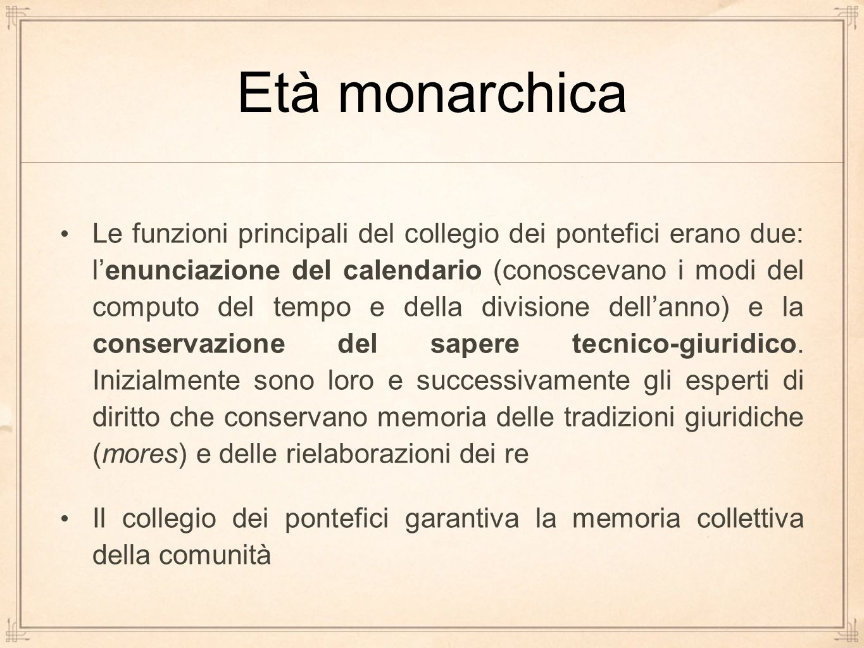 Età monarchica Le funzioni principali del collegio dei pontefici erano due: l'enunciazione del calendario (conoscevano i modi del computo del tempo e