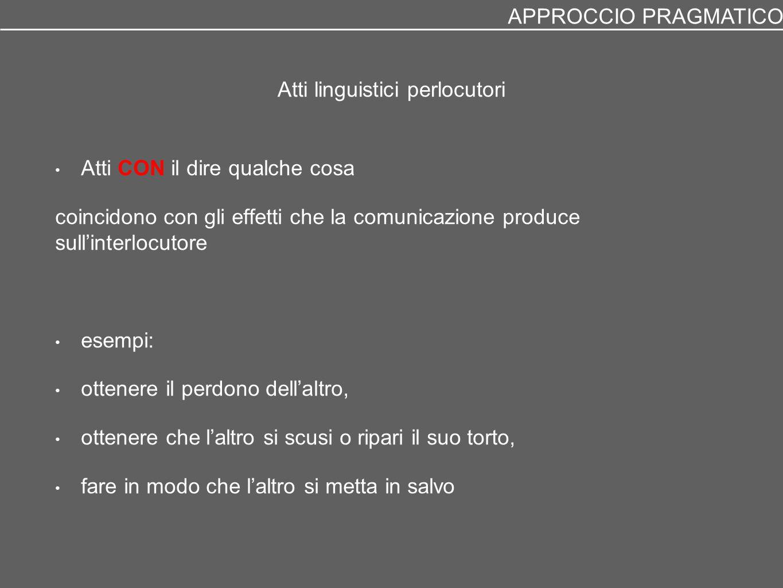 Atti linguistici perlocutori Atti CON il dire qualche cosa coincidono con gli effetti che la comunicazione produce sull'interlocutore esempi: ottenere