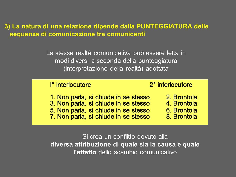 3) La natura di una relazione dipende dalla PUNTEGGIATURA delle sequenze di comunicazione tra comunicanti La stessa realtà comunicativa può essere let