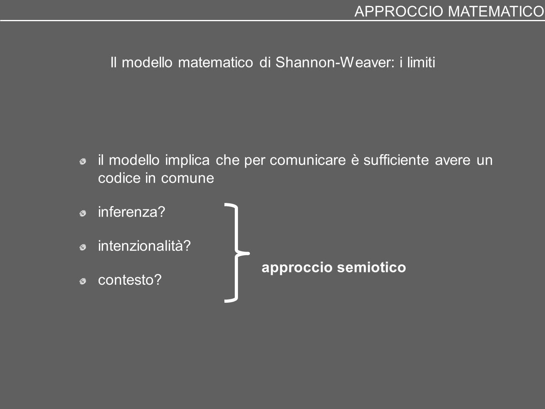 Il modello matematico di Shannon-Weaver: i limiti il modello implica che per comunicare è sufficiente avere un codice in comune inferenza? intenzional