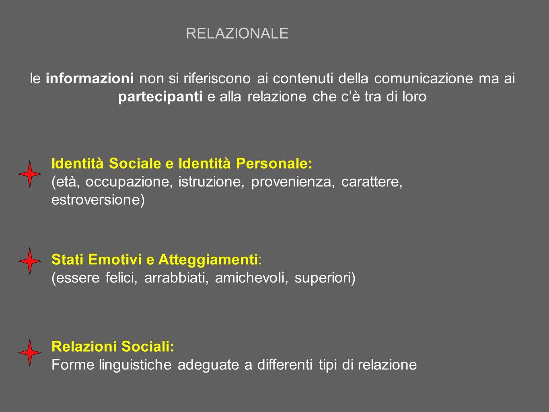 le informazioni non si riferiscono ai contenuti della comunicazione ma ai partecipanti e alla relazione che c'è tra di loro Stati Emotivi e Atteggiame
