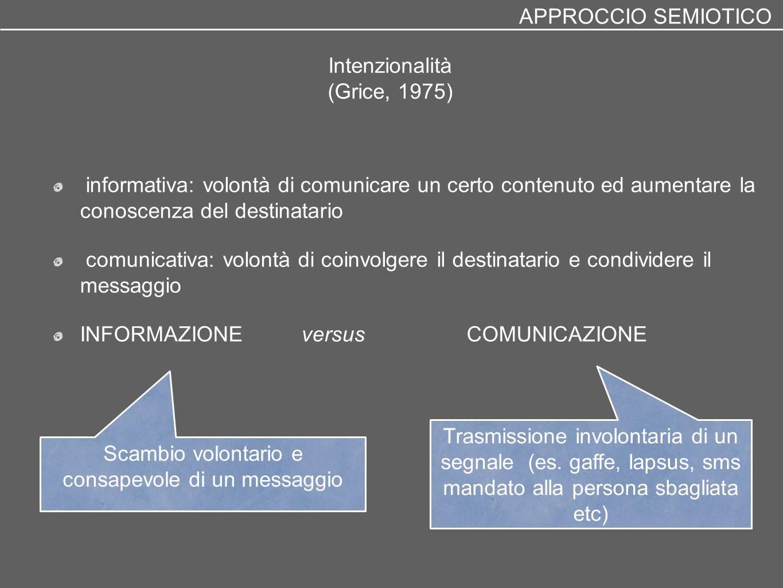 Intenzionalità (Grice, 1975) informativa: volontà di comunicare un certo contenuto ed aumentare la conoscenza del destinatario comunicativa: volontà d