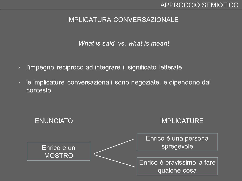 IMPLICATURA CONVERSAZIONALE l'impegno reciproco ad integrare il significato letterale le implicature conversazionali sono negoziate, e dipendono dal c