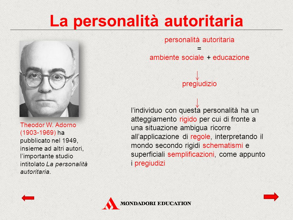 Theodor W. Adorno (1903-1969) ha pubblicato nel 1949, insieme ad altri autori, l'importante studio intitolato La personalità autoritaria. personalità