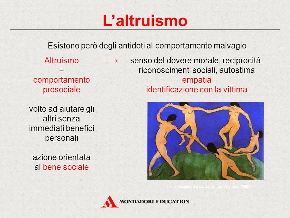 senso del dovere morale, reciprocità, riconoscimenti sociali, autostima empatia identificazione con la vittima Altruismo = comportamento prosociale vo