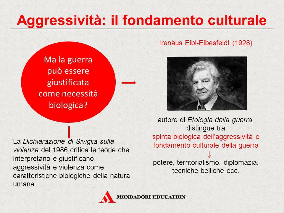 Ma la guerra può essere giustificata come necessità biologica? Irenäus Eibl-Eibesfeldt (1928) autore di Etologia della guerra, distingue tra spinta bi