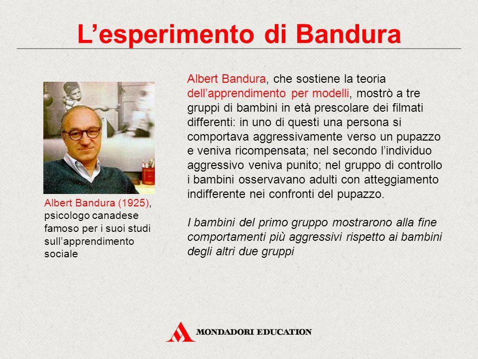 Albert Bandura (1925), psicologo canadese famoso per i suoi studi sull'apprendimento sociale Albert Bandura, che sostiene la teoria dell'apprendimento