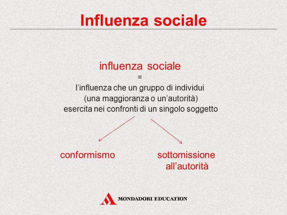 Influenza sociale influenza sociale = l'influenza che un gruppo di individui (una maggioranza o un'autorità) esercita nei confronti di un singolo sogg