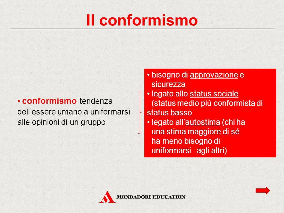 conformismo tendenza dell'essere umano a uniformarsi alle opinioni di un gruppo bisogno di approvazione e sicurezza legato allo status sociale (status