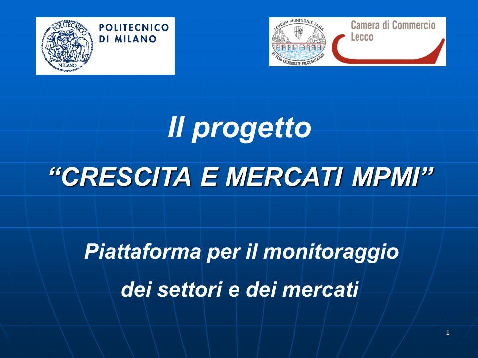 1 Il progetto CRESCITA E MERCATI MPMI Piattaforma per il monitoraggio dei settori e dei mercati