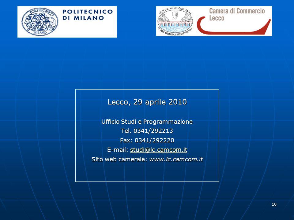 10 Lecco, 29 aprile 2010 Ufficio Studi e Programmazione Tel.