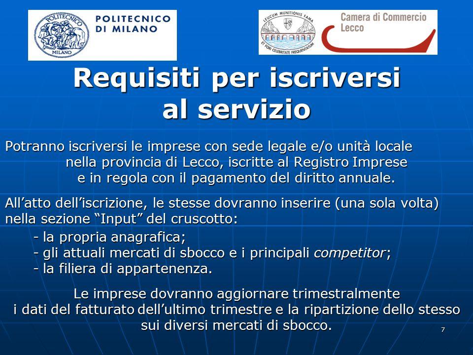 7 Requisiti per iscriversi al servizio Potranno iscriversi le imprese con sede legale e/o unità locale nella provincia di Lecco, iscritte al Registro Imprese e in regola con il pagamento del diritto annuale.