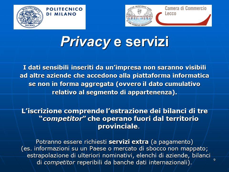 9 Privacy e servizi I dati sensibili inseriti da un'impresa non saranno visibili ad altre aziende che accedono alla piattaforma informatica se non in forma aggregata (ovvero il dato cumulativo relativo al segmento di appartenenza).