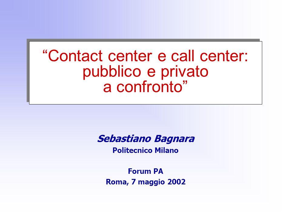 Contact center e call center: pubblico e privato a confronto Sebastiano Bagnara Politecnico Milano Forum PA Roma, 7 maggio 2002