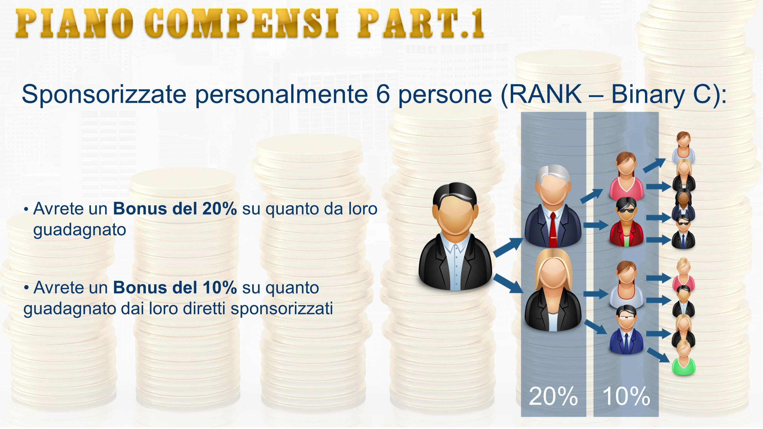 Sponsorizzate personalmente 6 persone (RANK – Binary C): Avrete un Bonus del 20% su quanto da loro guadagnato Avrete un Bonus del 10% su quanto guadag