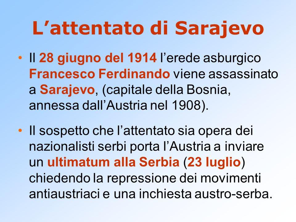 L'attentato di Sarajevo Il 28 giugno del 1914 l'erede asburgico Francesco Ferdinando viene assassinato a Sarajevo, (capitale della Bosnia, annessa dall'Austria nel 1908).