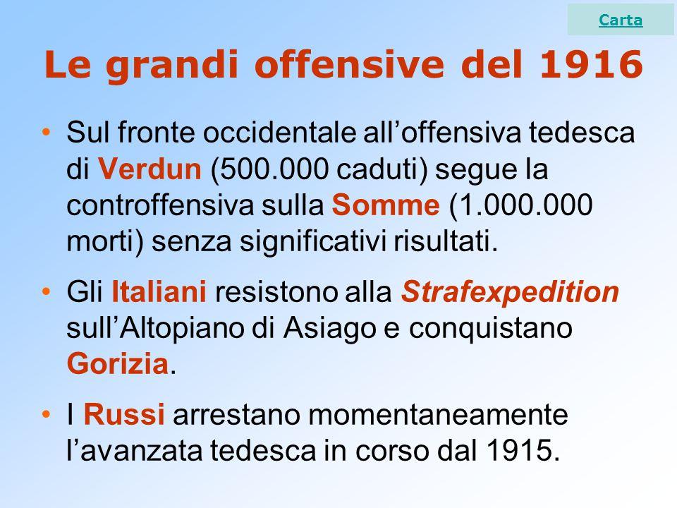 Le grandi offensive del 1916 Sul fronte occidentale all'offensiva tedesca di Verdun (500.000 caduti) segue la controffensiva sulla Somme (1.000.000 morti) senza significativi risultati.