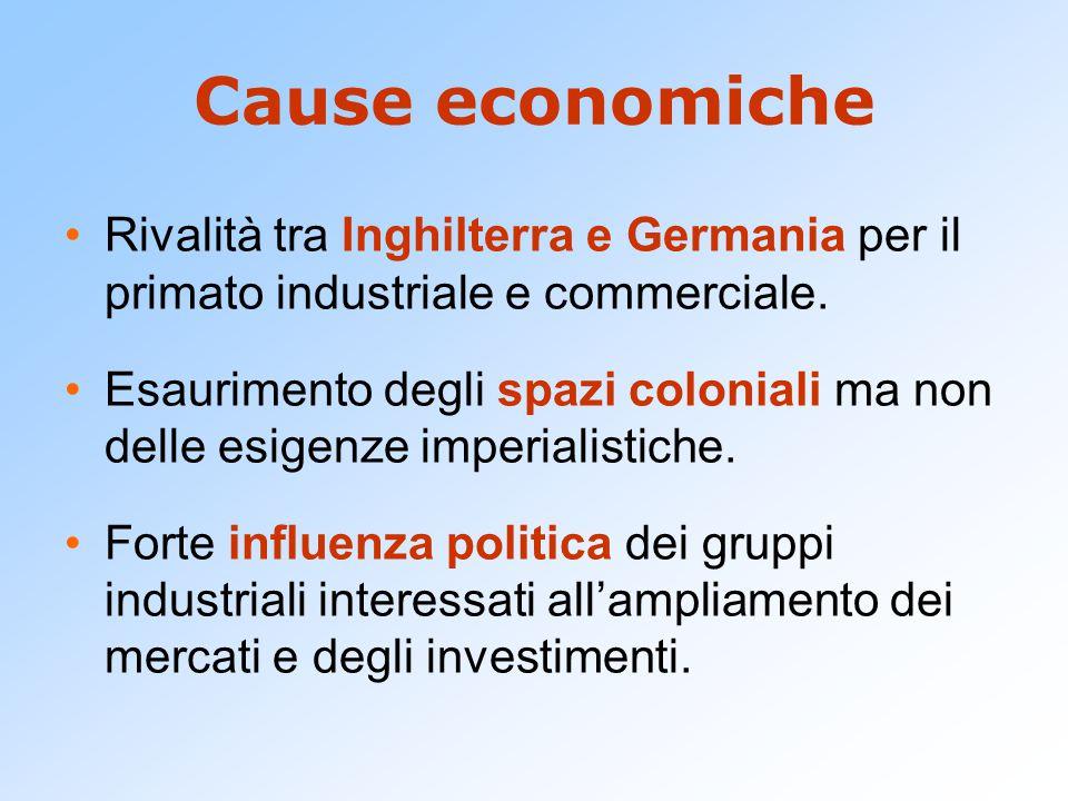 Cause economiche Rivalità tra Inghilterra e Germania per il primato industriale e commerciale.