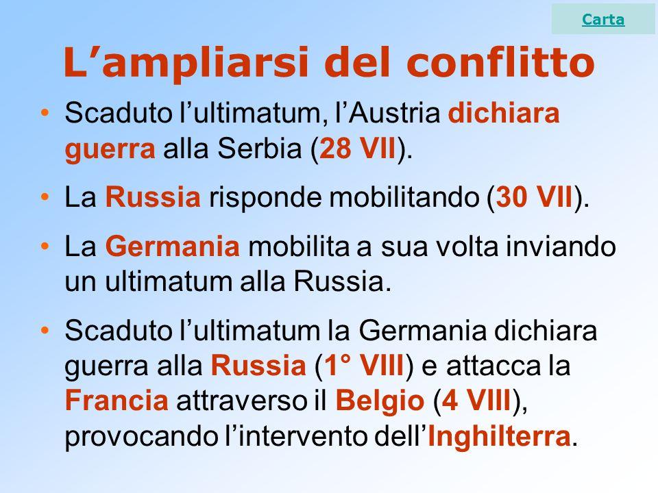 Il crollo dell'Austria Le nazionalità dell'Impero, fomentate dall'Intesa e dal presidente USA Wilson, premono per l'indipendenza.