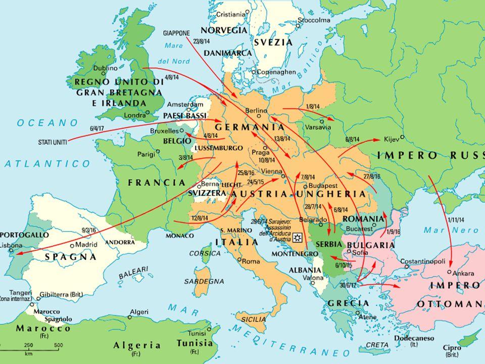 Gli schieramenti IntesaImperi centrali 1914 Serbia, Belgio, Francia, Inghilterra, Russia, Giappone Austria, Germania, Impero Ottomano 1915 ItaliaBulgaria 1916 Romania 1917 USA, Grecia