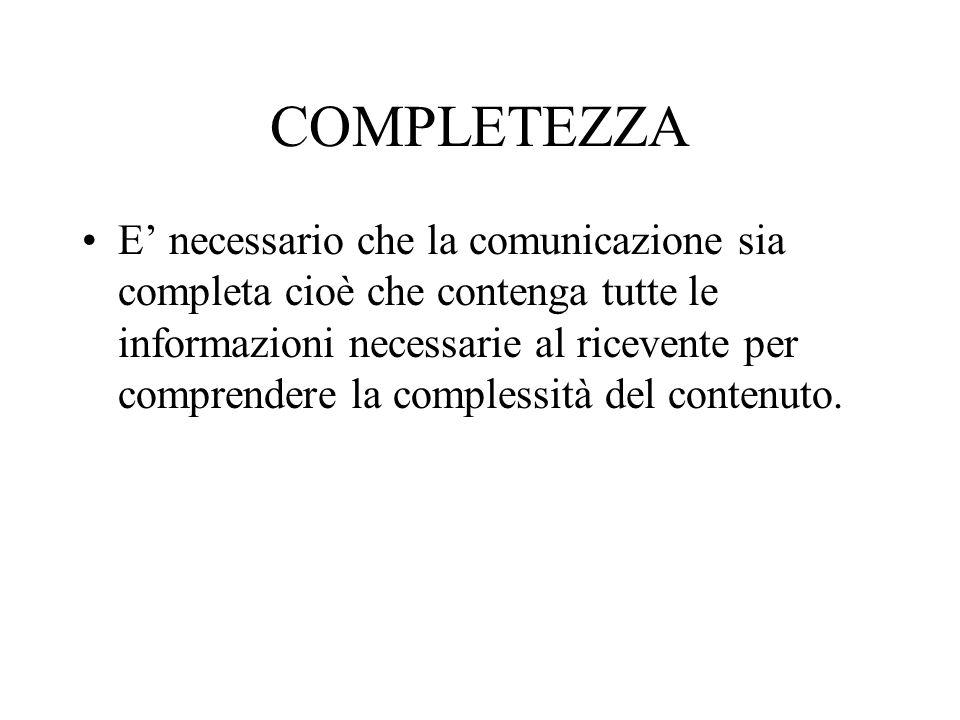 COMPLETEZZA E' necessario che la comunicazione sia completa cioè che contenga tutte le informazioni necessarie al ricevente per comprendere la comples