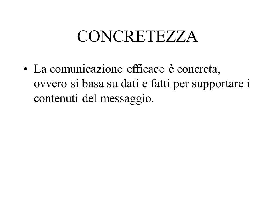 CONCRETEZZA La comunicazione efficace è concreta, ovvero si basa su dati e fatti per supportare i contenuti del messaggio.