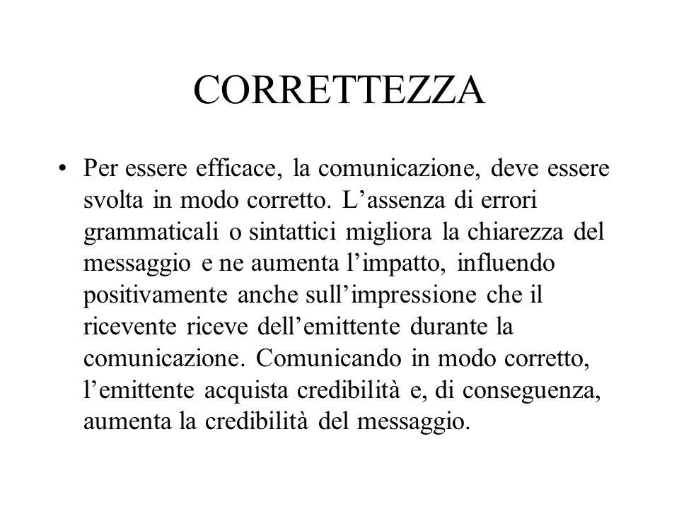 CORRETTEZZA Per essere efficace, la comunicazione, deve essere svolta in modo corretto. L'assenza di errori grammaticali o sintattici migliora la chia