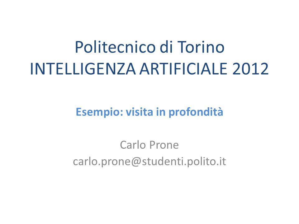 Politecnico di Torino INTELLIGENZA ARTIFICIALE 2012 Esempio: visita in profondità Carlo Prone carlo.prone@studenti.polito.it