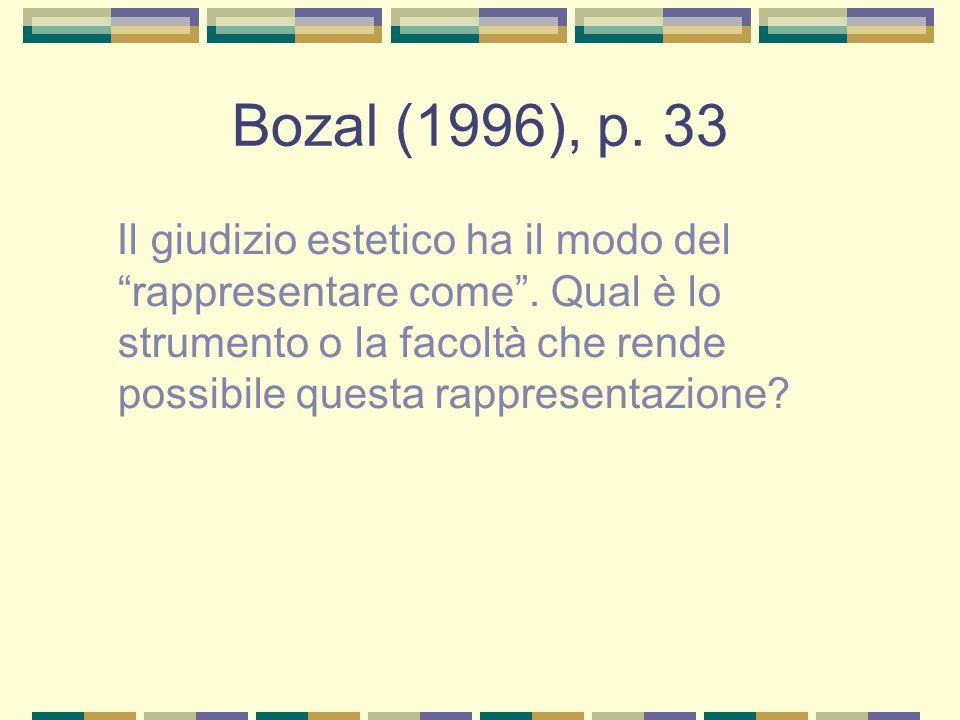 """Bozal (1996), p. 33 Il giudizio estetico ha il modo del """"rappresentare come"""". Qual è lo strumento o la facoltà che rende possibile questa rappresentaz"""