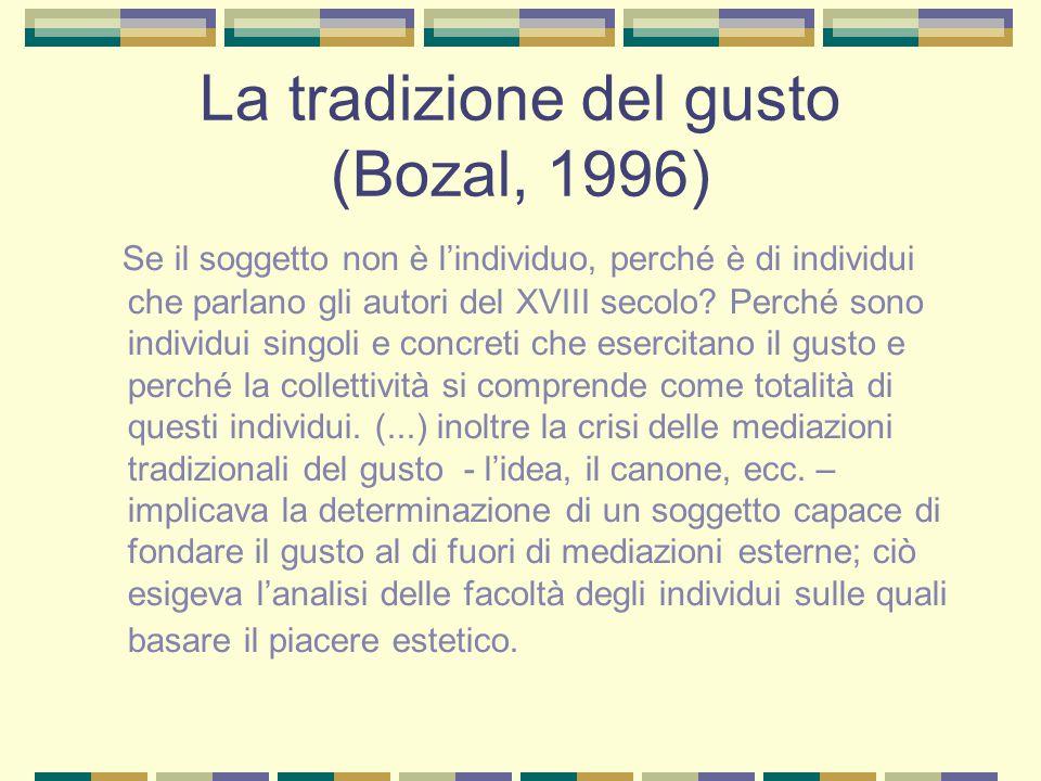 La tradizione del gusto (Bozal, 1996) Se il soggetto non è l'individuo, perché è di individui che parlano gli autori del XVIII secolo? Perché sono ind