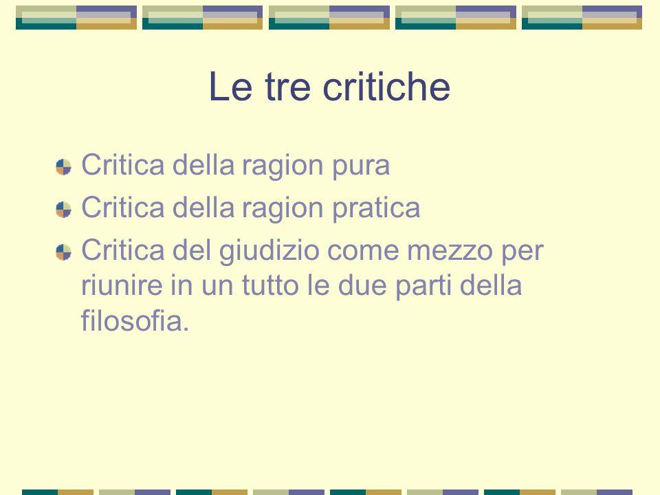 Le tre critiche Critica della ragion pura Critica della ragion pratica Critica del giudizio come mezzo per riunire in un tutto le due parti della filosofia.
