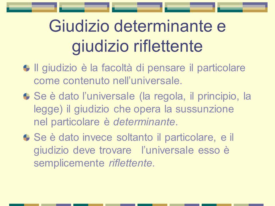 Giudizio determinante e giudizio riflettente Il giudizio è la facoltà di pensare il particolare come contenuto nell'universale.