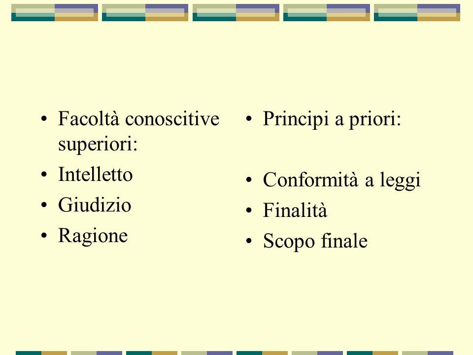 Facoltà conoscitive superiori: Intelletto Giudizio Ragione Principi a priori: Conformità a leggi Finalità Scopo finale