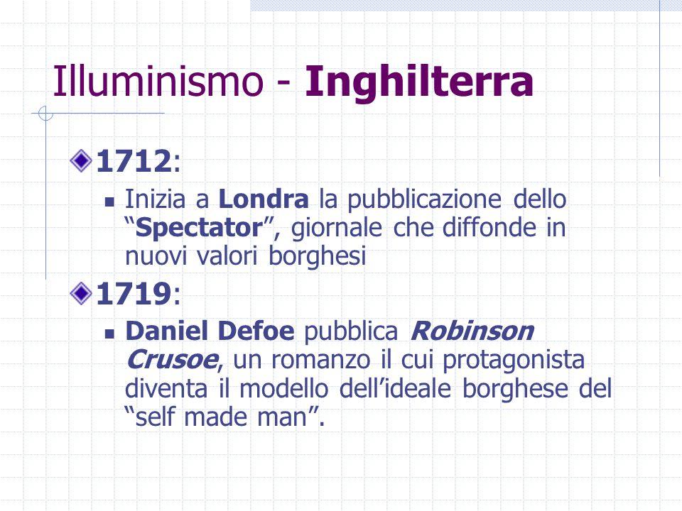 """Illuminismo - Inghilterra 1712: Inizia a Londra la pubblicazione dello """"Spectator"""", giornale che diffonde in nuovi valori borghesi 1719: Daniel Defoe"""