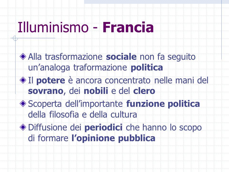 Illuminismo - Francia Alla trasformazione sociale non fa seguito un'analoga traformazione politica Il potere è ancora concentrato nelle mani del sovra