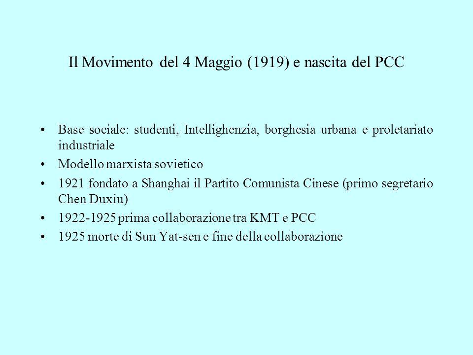 Il Movimento del 4 Maggio (1919) e nascita del PCC Base sociale: studenti, Intellighenzia, borghesia urbana e proletariato industriale Modello marxista sovietico 1921 fondato a Shanghai il Partito Comunista Cinese (primo segretario Chen Duxiu) 1922-1925 prima collaborazione tra KMT e PCC 1925 morte di Sun Yat-sen e fine della collaborazione