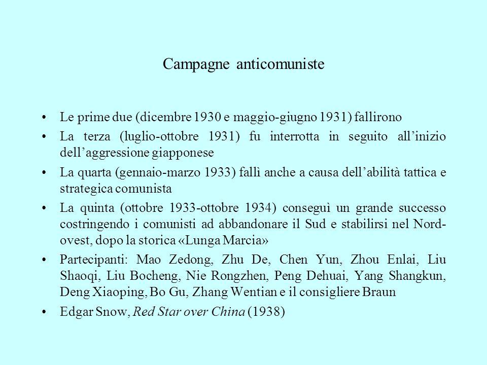 Campagne anticomuniste Le prime due (dicembre 1930 e maggio-giugno 1931) fallirono La terza (luglio-ottobre 1931) fu interrotta in seguito all'inizio dell'aggressione giapponese La quarta (gennaio-marzo 1933) fallì anche a causa dell'abilità tattica e strategica comunista La quinta (ottobre 1933-ottobre 1934) conseguì un grande successo costringendo i comunisti ad abbandonare il Sud e stabilirsi nel Nord- ovest, dopo la storica «Lunga Marcia» Partecipanti: Mao Zedong, Zhu De, Chen Yun, Zhou Enlai, Liu Shaoqi, Liu Bocheng, Nie Rongzhen, Peng Dehuai, Yang Shangkun, Deng Xiaoping, Bo Gu, Zhang Wentian e il consigliere Braun Edgar Snow, Red Star over China (1938)